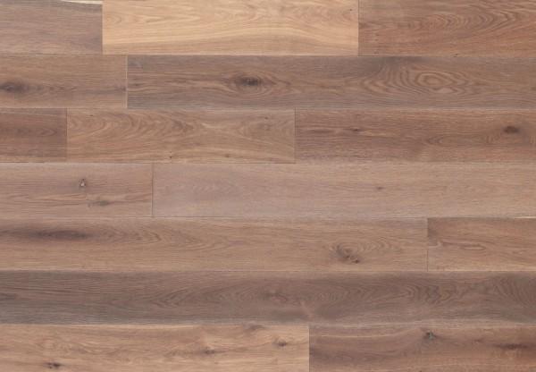 Massivholzdiele Asteiche gebürstet angeräuchert weiß geölt - 90027