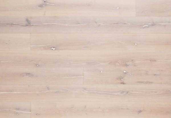 Landhausdiele Kerneiche gebürstet weiß gekittet steinweiß geölt - 34145