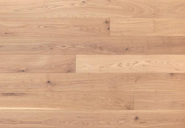 Massivholzdiele Asteiche gebürstet weiß geölt - 90024